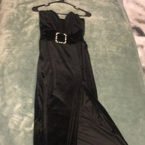 Plunge split velvet dress from fashion nova